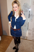 blue Tally Wejl skirt - blue Forever 21 cardigan - brown vintage boots - brown M