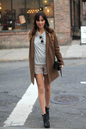 olive green wool coat COS coat - silver lace shorts Maje shorts