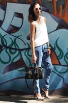 black black satchel Nina Maya bag - sky blue Nina Maya pants