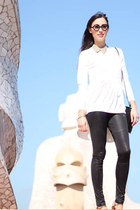 white COS top - black Nina Maya leggings - camel beaded collar COS accessories