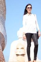 white COS top - black Nina Maya leggings - camel beaded collar COS accessories