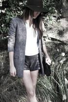 Urban Outfitters hat - Alexander Wang blazer - Nina Maya shorts - Nina Maya t-sh