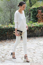 white white denim Zara jeans - white Topshop sweater