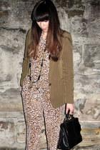 olive green Zara blazer - black Nina Maya bag - dark khaki Tucker romper - ivory