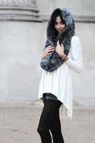 navy hooded scarf reserved scarf - white stretch dress COS dress
