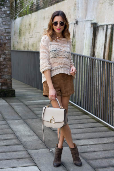 dark brown rag&bone boots - neutral Topshop sweater - dark brown Topshop shorts