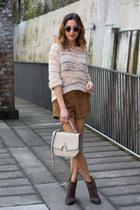 dark brown rag&bone boots - neutral Topshop sweater - dark brown Topshop shorts