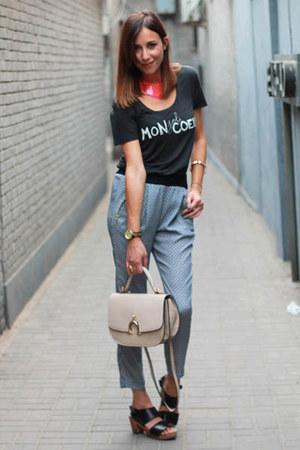 navy Zara pants - gray printed tee Zara t-shirt - hot pink H&M necklace