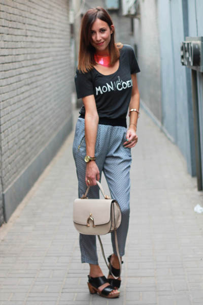 navy Zara pants - gray printed tee Zara t-shirt - hot pink H&M necklace