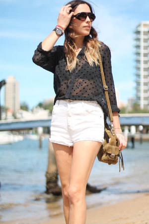 black Zara blouse - white denim cut offs vintage shorts