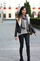 white striped scarf reserved scarf - black leather biker Zara jacket