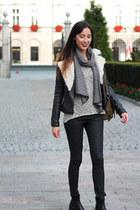 white striped scarf reserved scarf - black leather biker Zara jacket