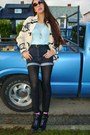 Sky-blue-crochet-thrifted-shirt-black-aldo-boots-cream-wool-thrifted-jacket