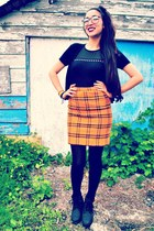 black boots - black tights - mustard wool vintage skirt - black cardigan