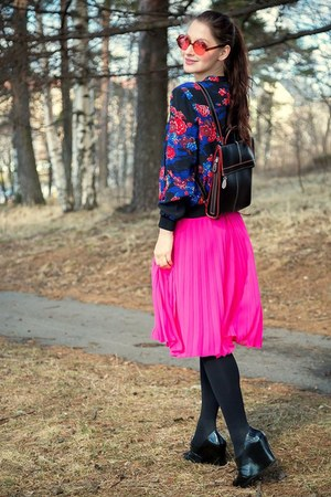hot pink H&M skirt - navy French Connection jacket
