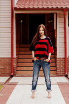 navy boyfriend jeans Miss Sixty jeans - red cashmere Marni for H&M jumper