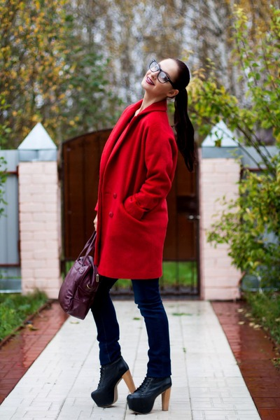 red oversized coat asos coat - black lita espaa Jeffrey Campbell boots