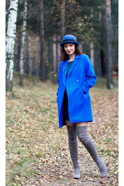 blue wool asos coat - heather gray gianna meliani boots