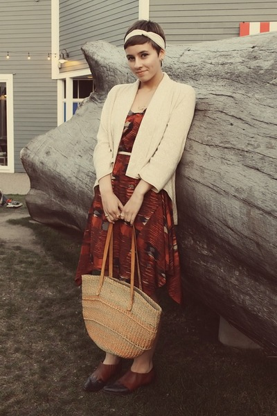 Urban Outfitters dress - bubble gum vintage purse - Tuesday Morning cardigan
