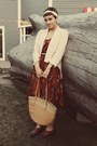 Urban-outfitters-dress-bubble-gum-vintage-purse-tuesday-morning-cardigan