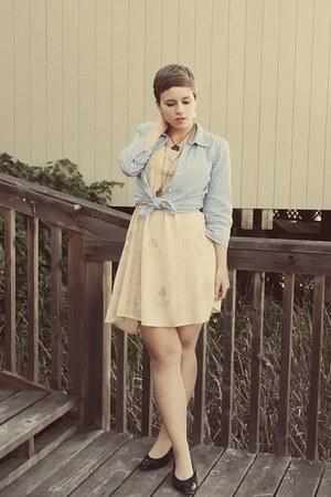 thrifted dress - thrifted blouse - Goodwill heels