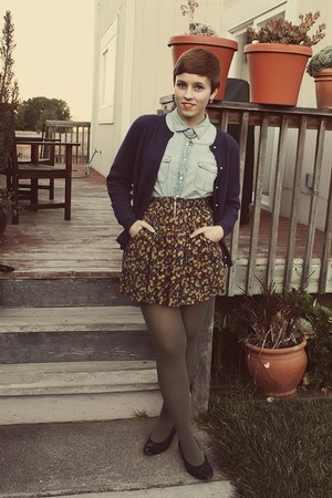Urban Outfitters skirt - vintage cardigan - J Crew blouse - thrifted heels