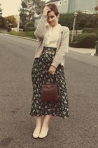 Goodwill skirt - vintage purse - Goodwill blouse