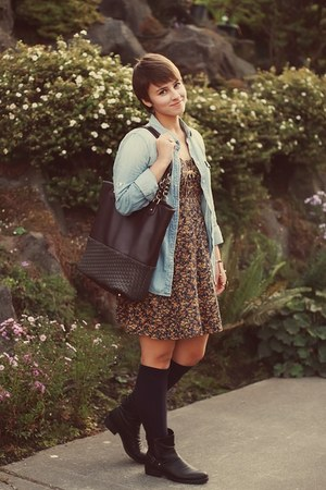 thrifted dress - Marshalls boots - J Crew shirt - Marshalls bag