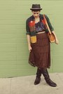 Vintage-boots-target-hat-thrifted-vintage-jacket-flea-market-purse