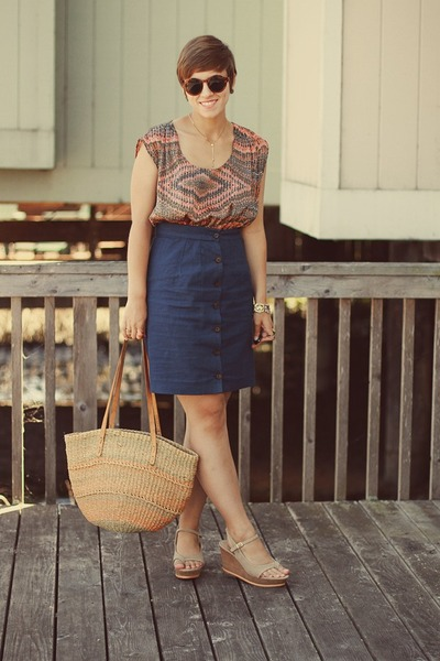 vintage purse - Forever 21 dress - thrifted skirt - DSW wedges