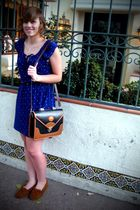 blue Forever21 dress - brown Minnetonka shoes - black Dooney and Burke purse