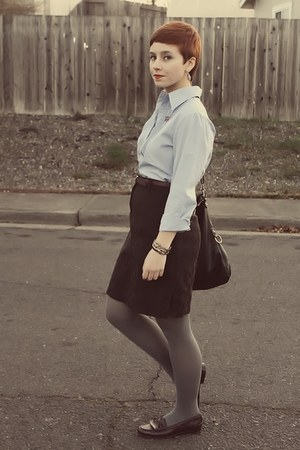 thrifted blouse - Goodwill shoes - Forever21 purse - thrifted skirt