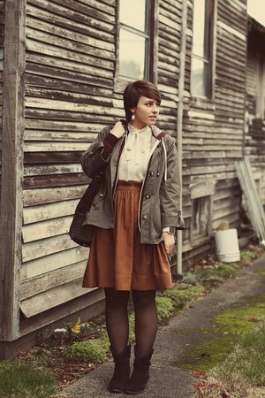 H&M skirt - DSW boots - TJ Maxx jacket - vintage blouse