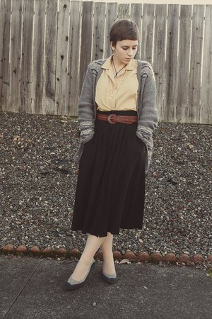 Urban Outfitters cardigan - thrifted vintage blouse - thrifted skirt