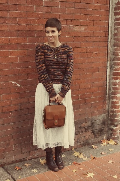 vintage sweater - Goodwill boots - vintage skirt