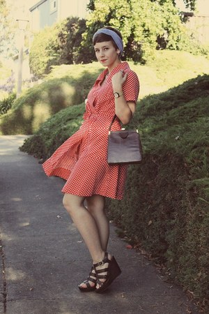 vintage from flea market dress - Vintage Thrifted purse - Target wedges