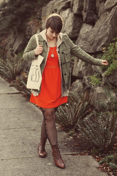Gap jacket - thrifted boots - Urban Outfitters dress - Etsy bag