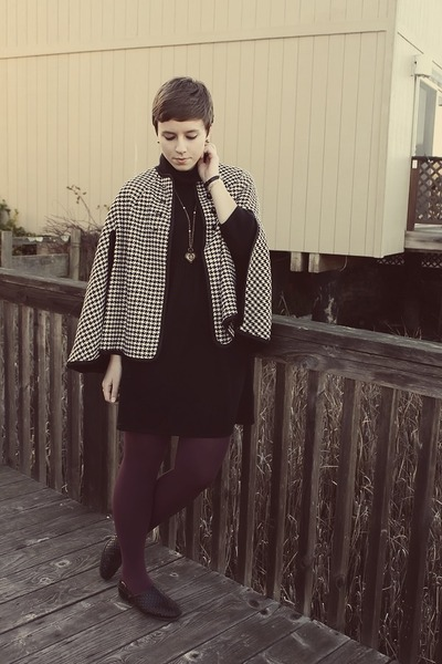 vintage cape - thrifted shoes - J Crew dress - Urban Outfitters tights