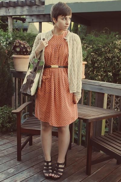 vintage dress - vintage cardigan - Target wedges