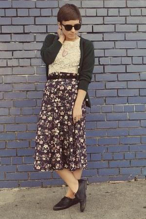 vintage shoes - vintage sweater - thrifted skirt - vintage top