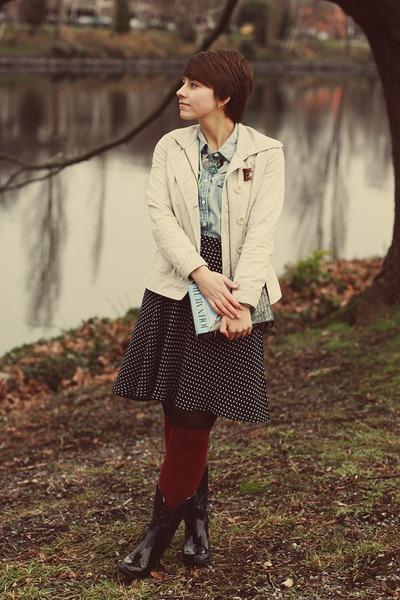 thrifted jacket - Target boots - J Crew shirt - thrifted skirt