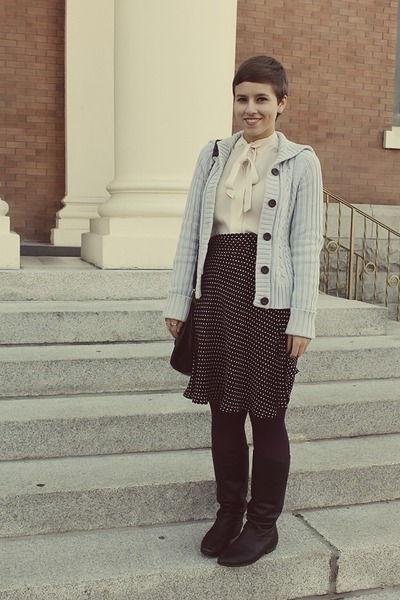 thrifted vintage blouse - vintage boots - Gap sweater - thrifted skirt