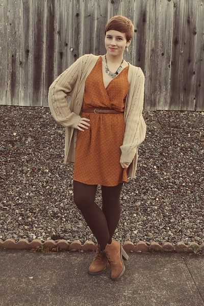 Urban Outfitters boots - Ruche dress - Goodwill cardigan