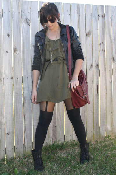 black stockings - army green dress - black jacket - brick red bag