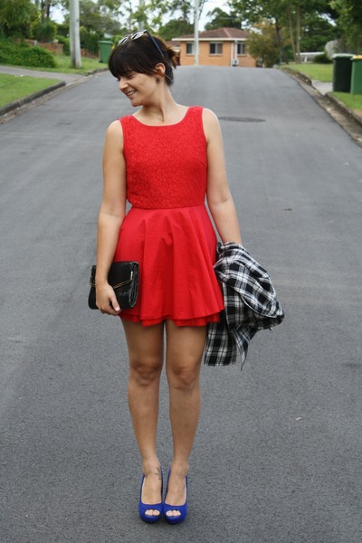 red Dissh dress - blue Wayne Cooper heels