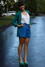 Teal-asos-blazer-sky-blue-asos-shorts-turquoise-blue-zu-heels