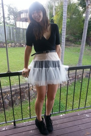 black cardigan - light pink tutu petticoat skirt - black wedge sneakers