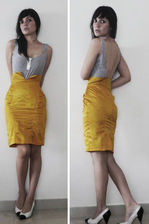 yellow high waisted maria escote skirt - white bw high heels regina romero shoes