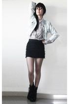 black boots - black Forever 21 skirt - pink blouse - blue jacket