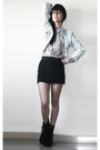 Black-boots-black-forever-21-skirt-pink-blouse-blue-jacket